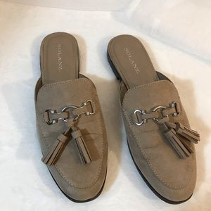 Solanz Tan Suede-like mules with tassels